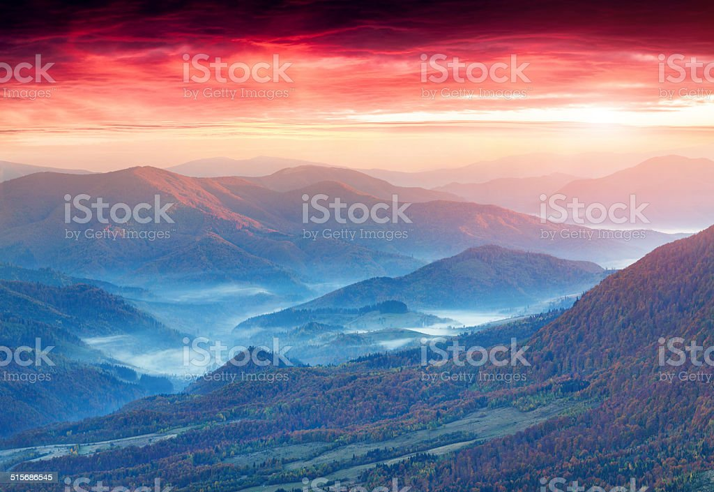Panorama of the autumn mountains. stock photo
