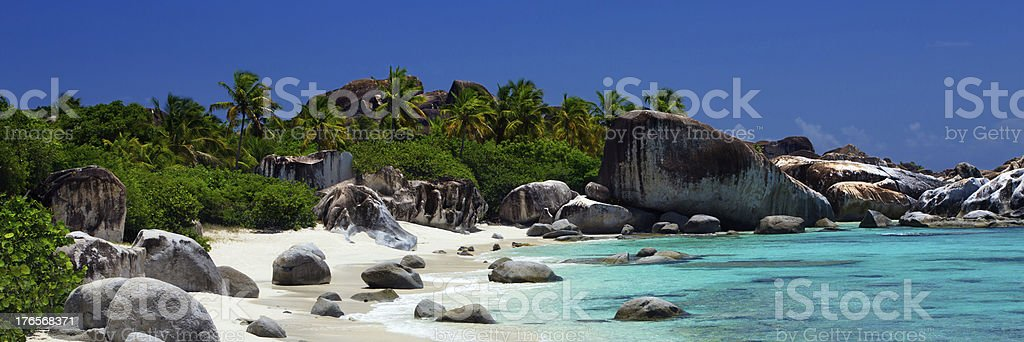 panorama of The Baths in Virgin Gorda, BVI stock photo