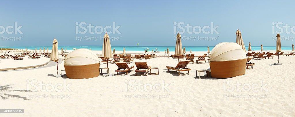 Panorama of the beach at luxury hotel, Abu Dhabi, UAE stock photo