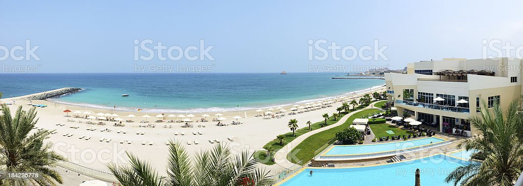 Panorama of the beach at luxury hotel, Fujairah, UAE royalty-free stock photo