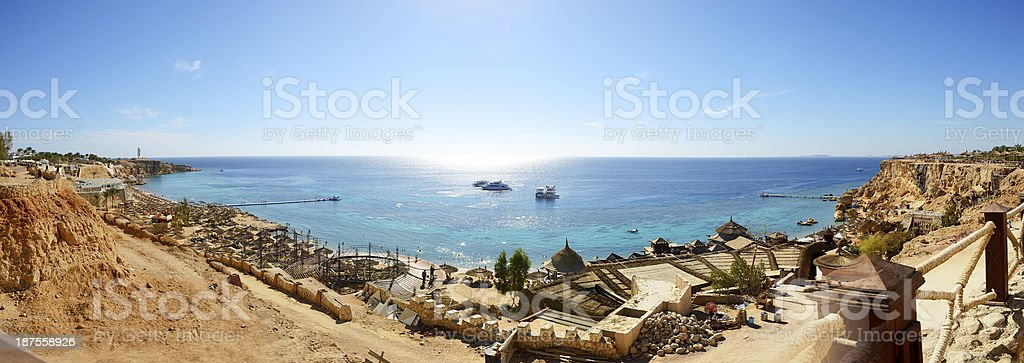 Panorama of the beach at luxury hotel stock photo