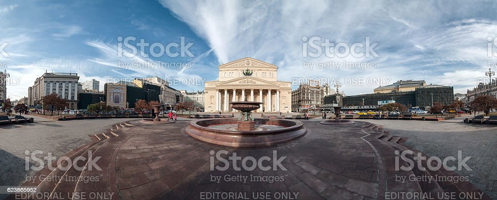 Panorama of the Bolshoi Theatre in Moscow, Russia. stock photo