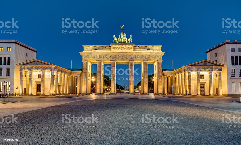 Panorama of the Brandenburger Tor at night stock photo