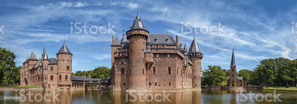Panorama of the castle de Haar stock photo