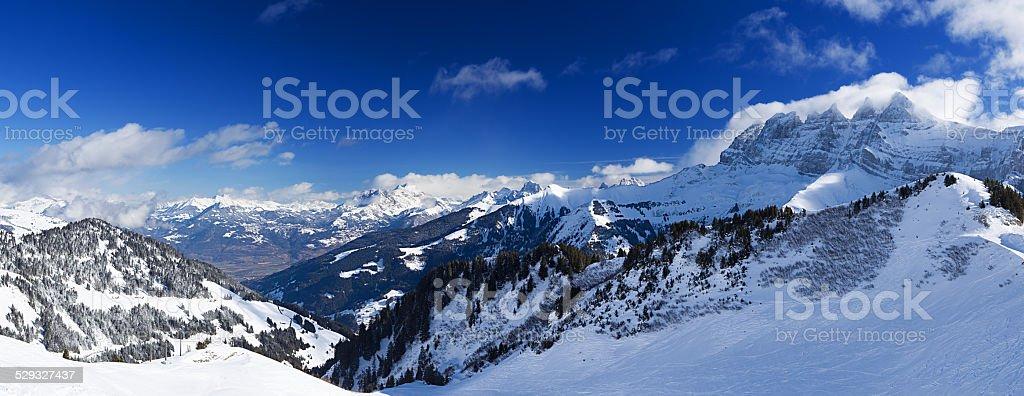 Panorama of the Chablais Alps stock photo