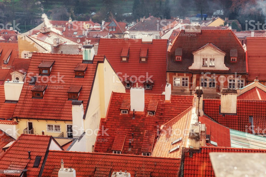 panorama of the city and Prague Castle stock photo