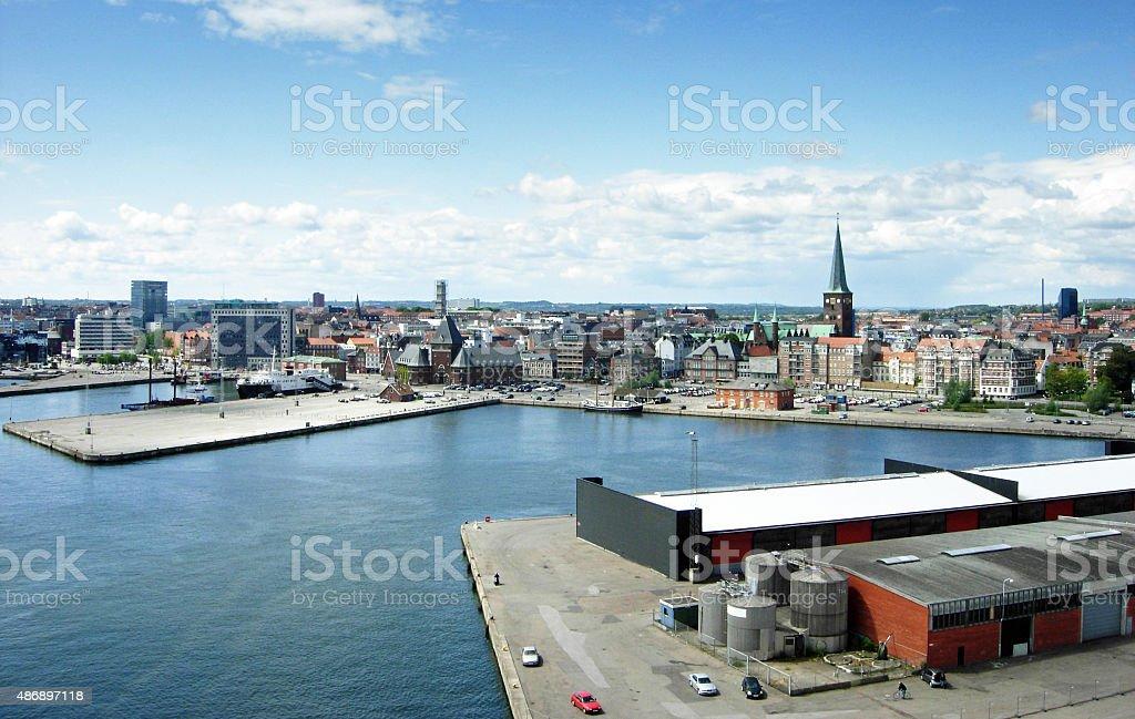 Panorama of the city of Aarhus in Denmark stock photo