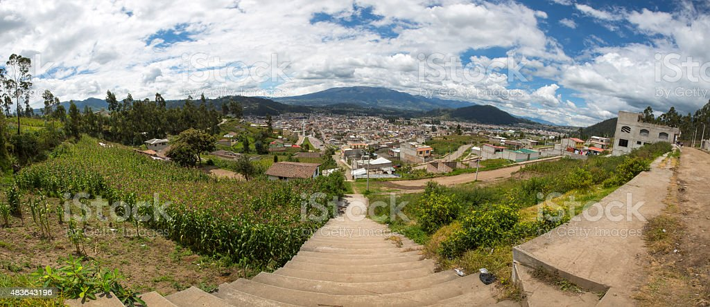 Panorama of the city of Otavalo and the surrounding mountains stock photo