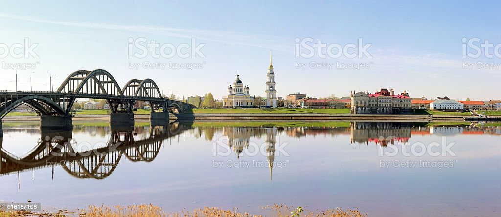 Panorama of the city of Rybinsk, overlooking the Cathedral, brid stock photo