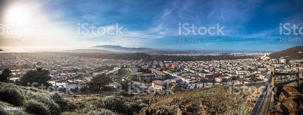 Panorama of the City of San Francisco California stock photo