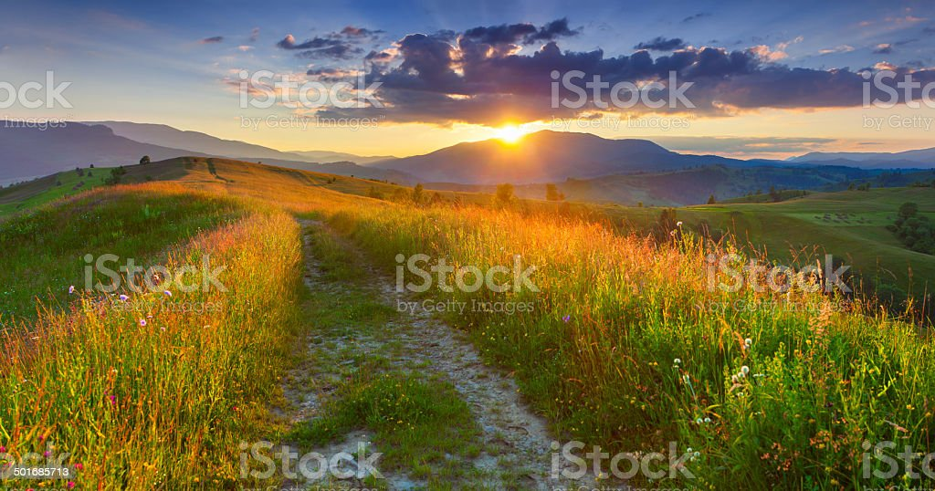Panorama of the colorful summer evening  in the mountains. stock photo
