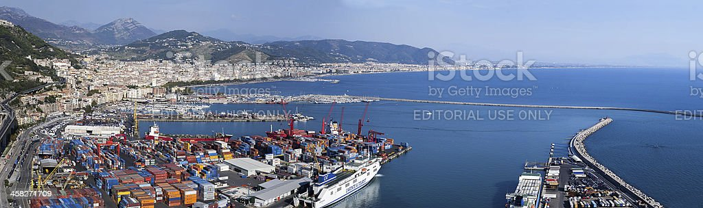 Panorama of the commercial port royalty-free stock photo
