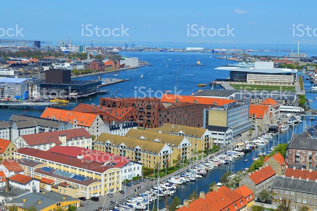 panorama de Copenhague al río foto de stock libre de derechos
