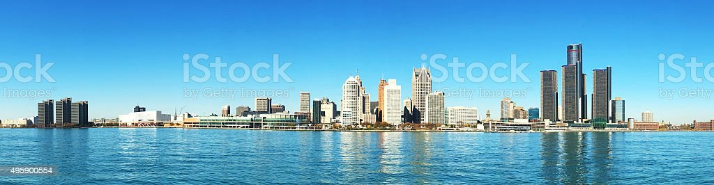 Panorama of the Detroit, Michigan Skyline stock photo