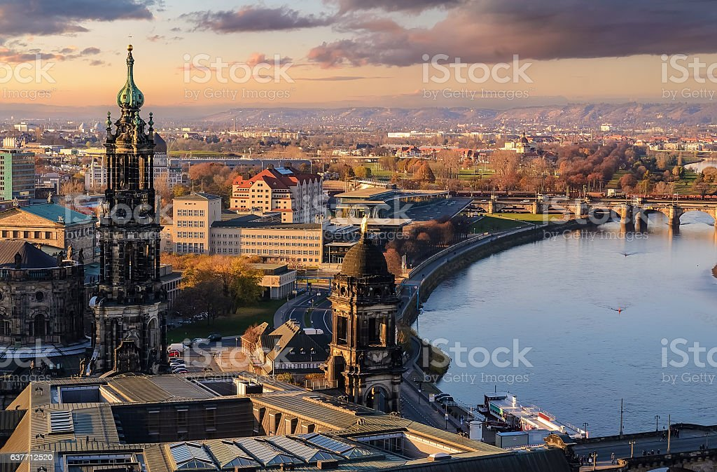 Panorama of the Dresden city skyline at sunset  in Germany stock photo