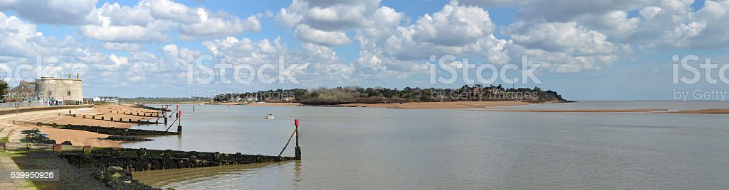 Panorama of the Estuary of the river Deben stock photo