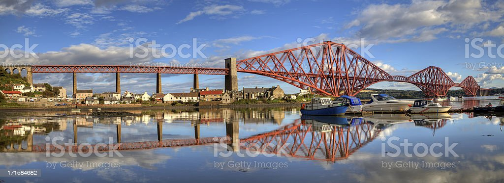 Panorama of the Forth Railway Bridge stock photo