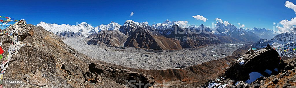 Panorama of the Gokyo Valley and Mt. Everest, Himalayas, Nepal stock photo