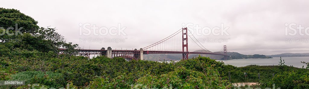 Panorama of the Golden Gate Bridge in San Francisco CA stock photo
