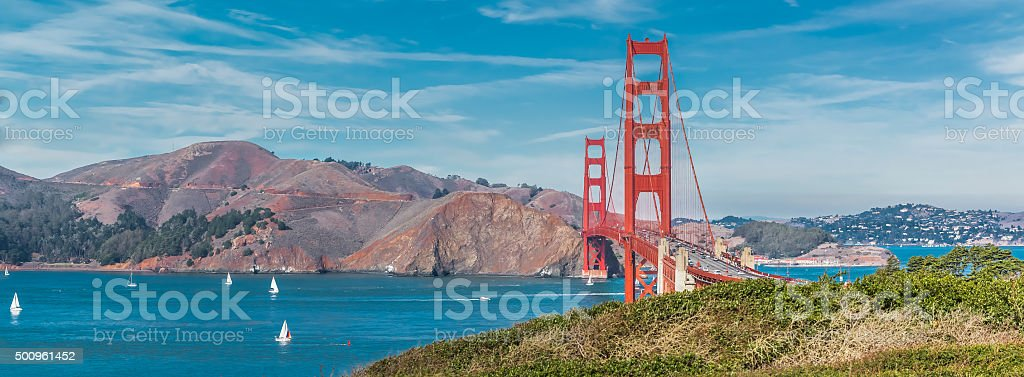 Panorama of the Golden Gate bridge stock photo