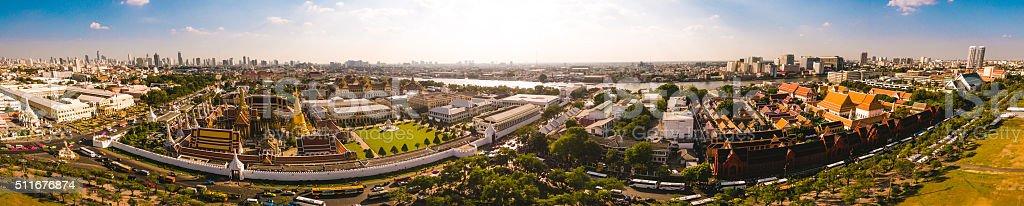 Panorama of the Grand Palace in Bangkok, Thailand stock photo