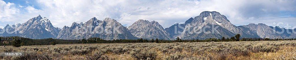 Panorama of The Grand Teton Mountains stock photo