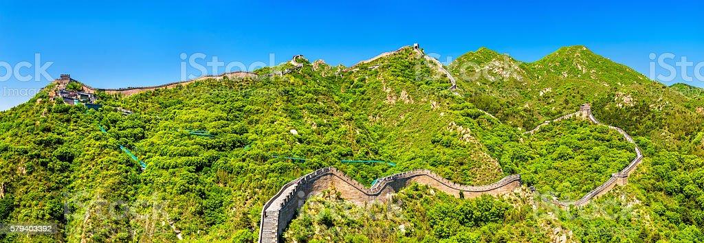 Panorama of the Great Wall at Badaling - China stock photo