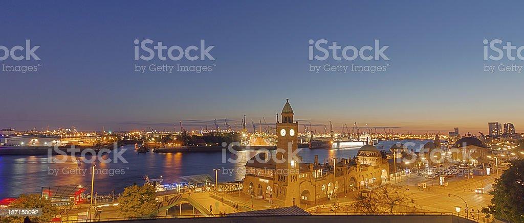 Panorama of the Hamburg harbor stock photo