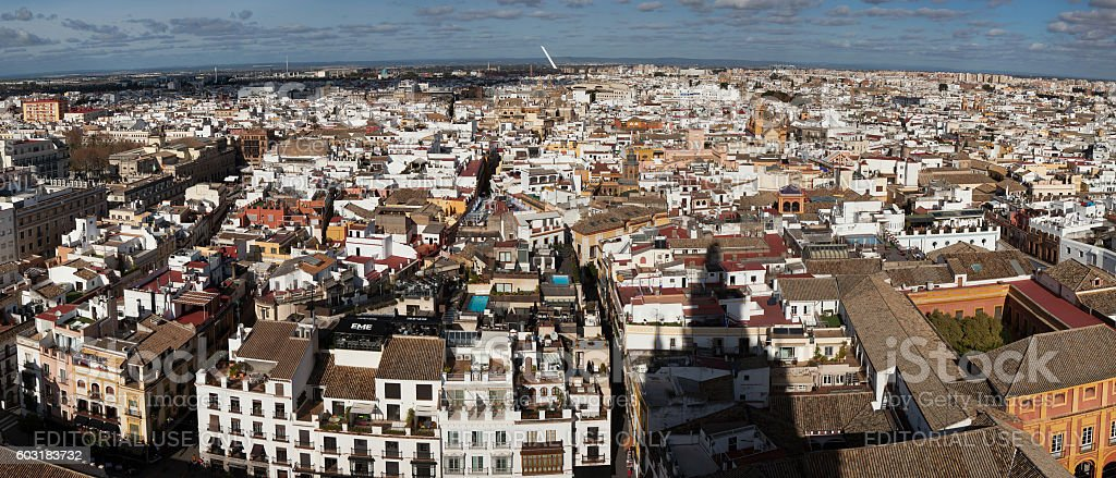 Panorama of the historical centre of Seville in Andalusia, Spain stock photo