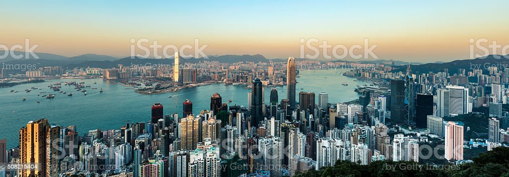Panorama of the Hong Kong City Skyline and Harbour, China. stock photo