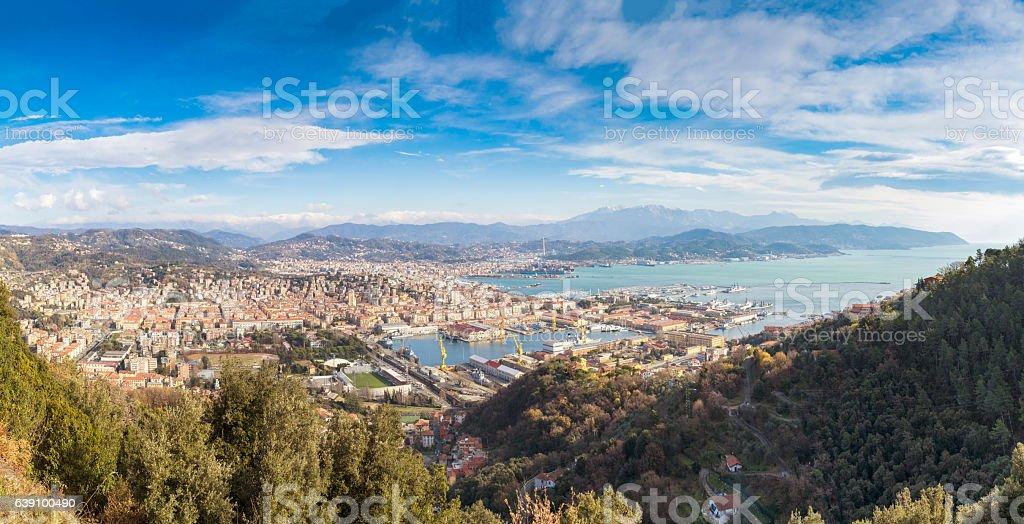 Panorama of the Italian Navy in La Spezia, Italy stock photo