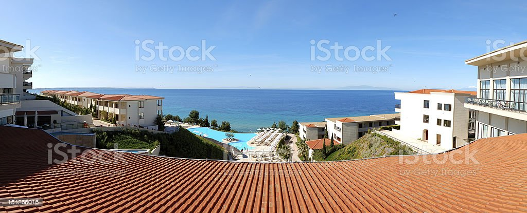 Panorama of the luxury hotel with swimming pool royalty-free stock photo