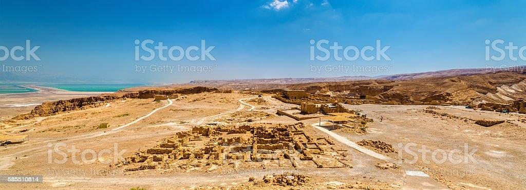 Panorama of the Masada fortress - Judaean Desert, Israel stock photo