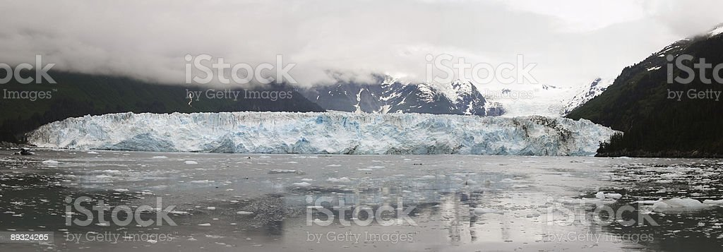 Panorama of the Meares Glacier stock photo