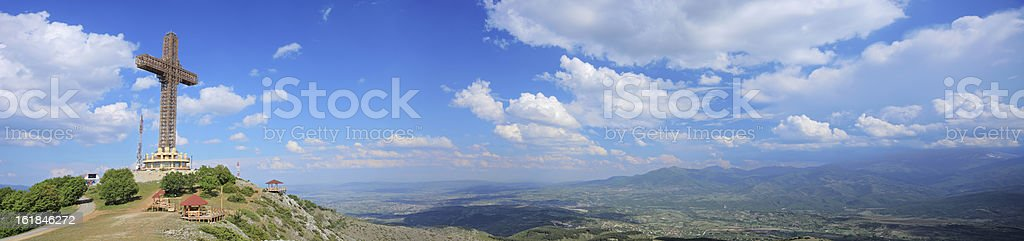 Panorama of the Millennium cross on Mt. Vodno royalty-free stock photo