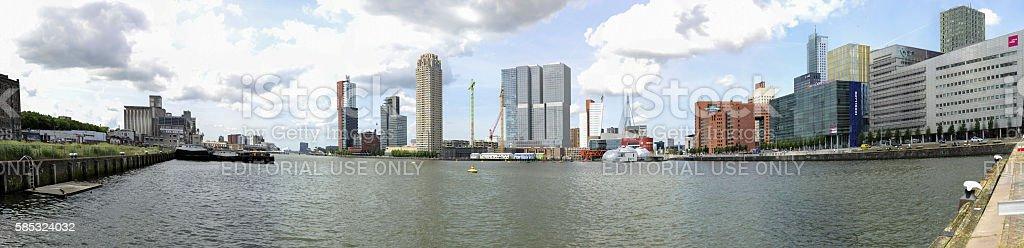 Panorama of the modern buildings around the Rijnhaven in Rotterdam stock photo