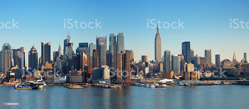 Panorama of the New York City skyline in Manhattan stock photo