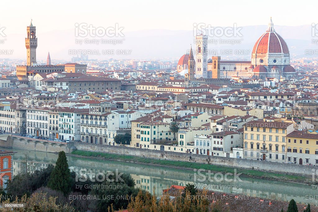 Panorama of the old city of Florence with the cathedral. stock photo