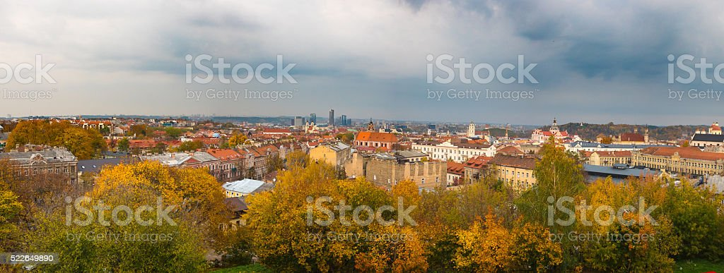 Panorama of the Old Town in Vilnius, Lithuania stock photo