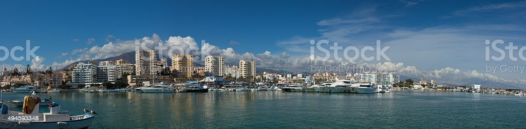 Panorama of the Port at Estepona, Costa del Sol, Spain stock photo