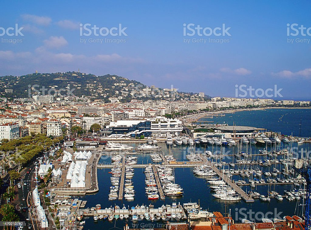 panorama of the port of Cannes stock photo