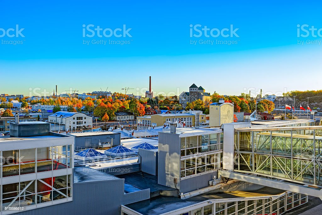 Panorama of the Port of Turku, Finland stock photo