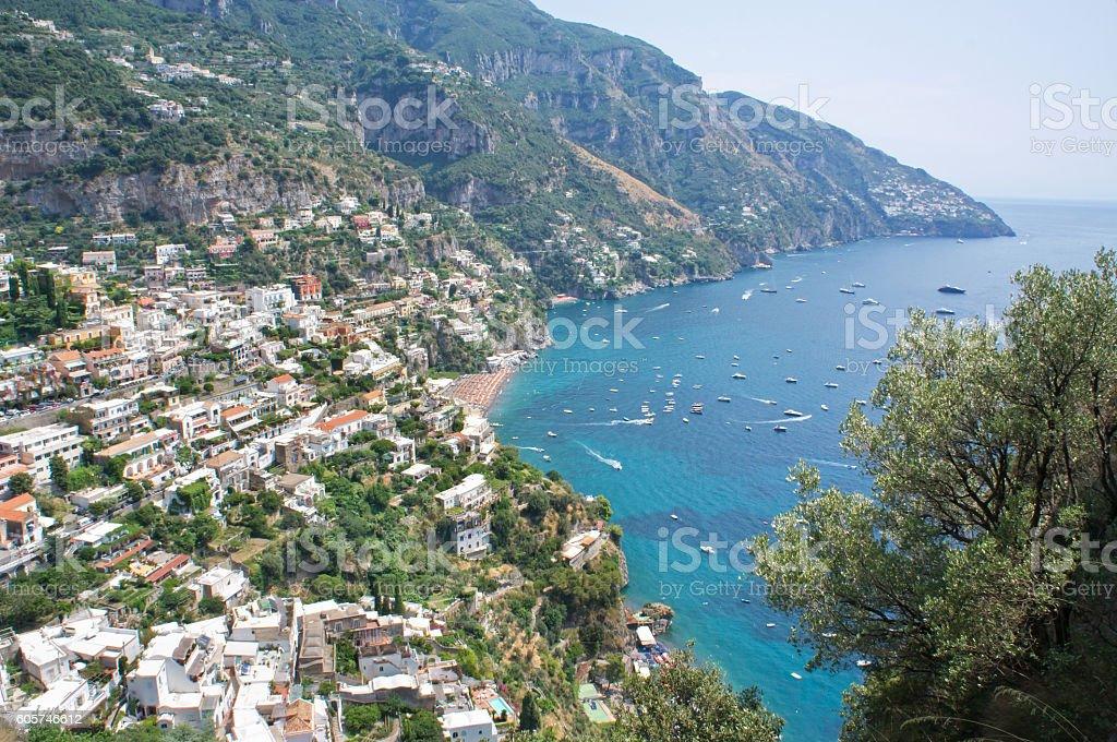 Panorama of the Positano coast stock photo