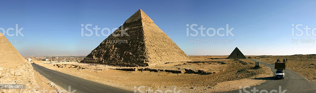 Panorama of the pyramids, Giza stock photo