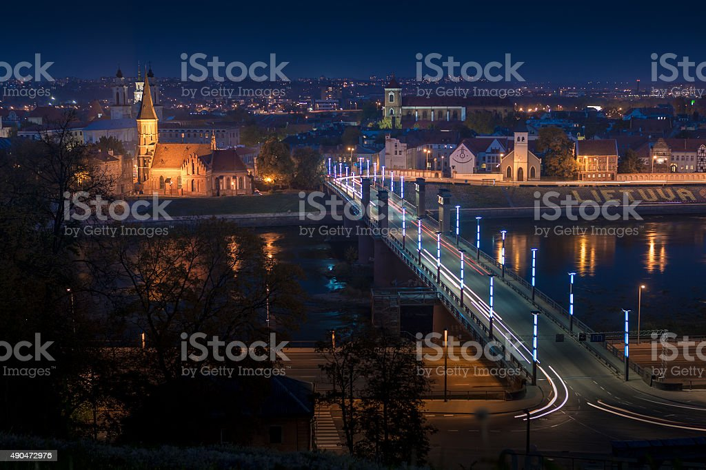 Panorama of the river and town of Kaunas. Lithuania stock photo