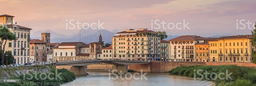 Panorama of the river Arno in Pisa stock photo