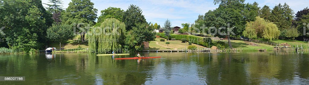Panorama of the River Ouse at St Neots stock photo