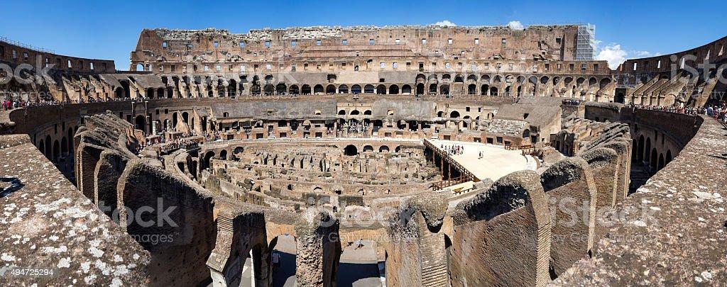 Panorama of the Roman Coliseum stock photo