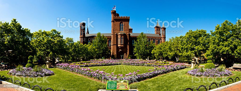 Panorama of the Smithsonian Institution Castle stock photo