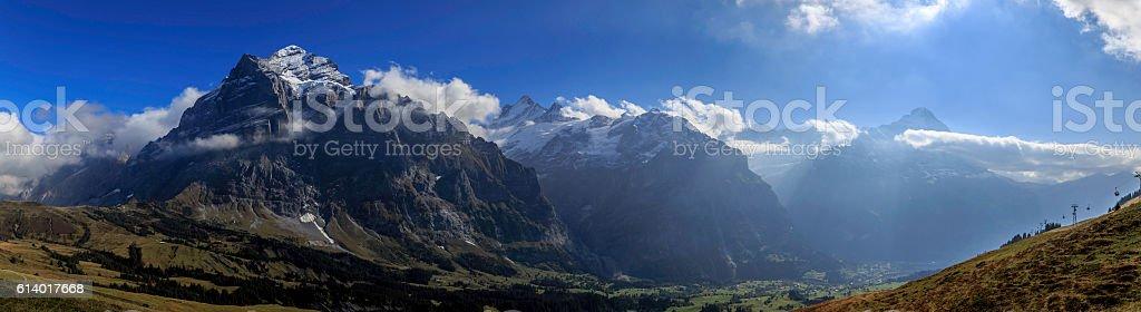 Panorama of the Swiss Alps stock photo